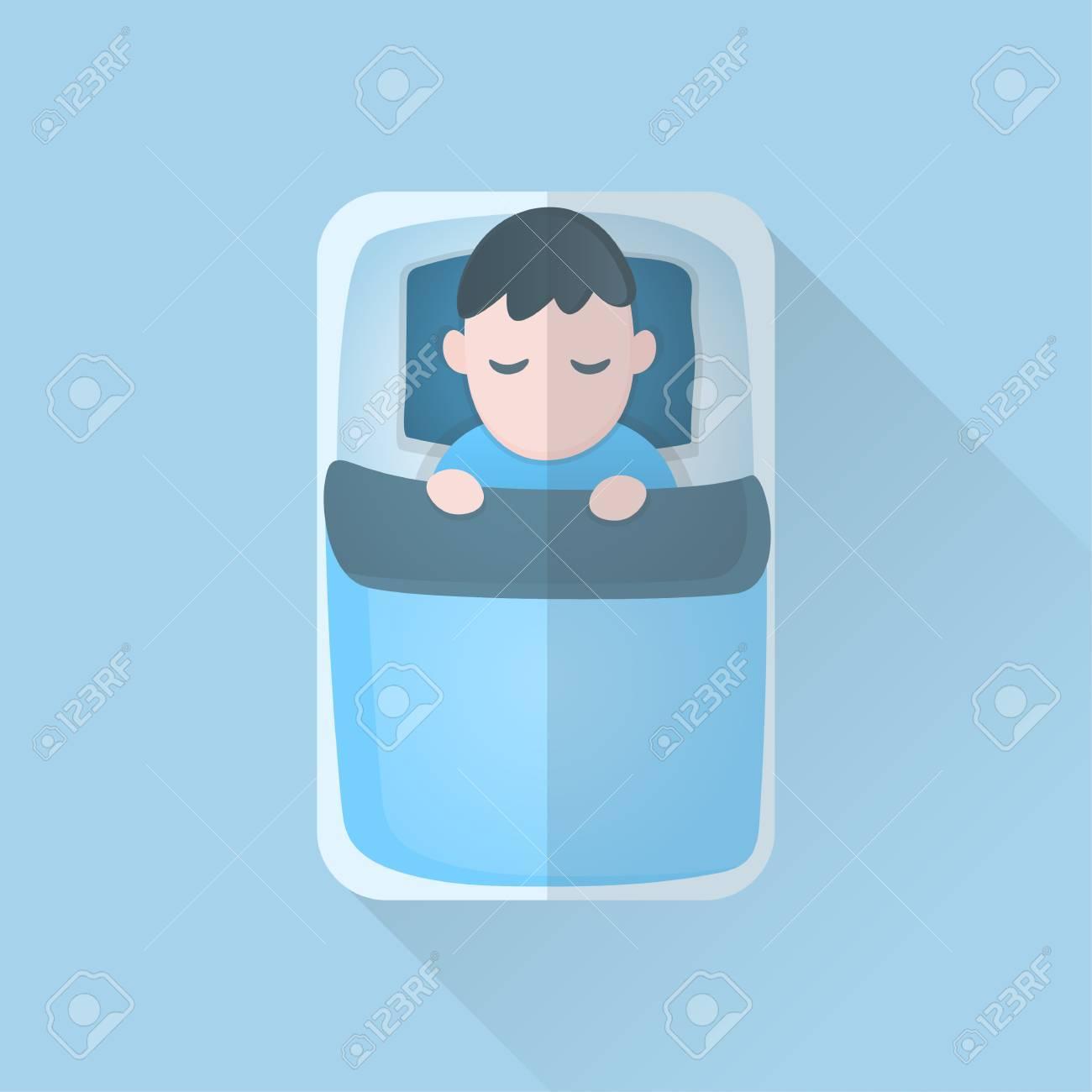 Jeune Homme En Couverture Dormir Sur Le Lit Dessin Anime Icone Design Illustration Vectorielle Clip Art Libres De Droits Vecteurs Et Illustration Image 72389180