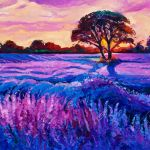 Original Oil Painting Of Lavender Fields On Canvas Rich Purple Sunset Landscape Modern Impressionism Banco De Imagens Royalty Free Ilustracoes Imagens E Banco De Imagens Image 37791118
