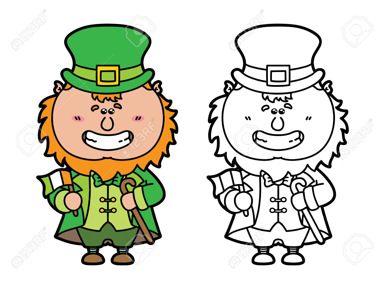 funny leprechaun vector illustration coloring page of happy