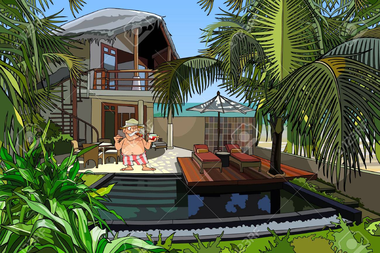 Cartoon Man In A Villa With A Pool Royalty Free Cliparts Vectors And Stock Illustration Image 37632980
