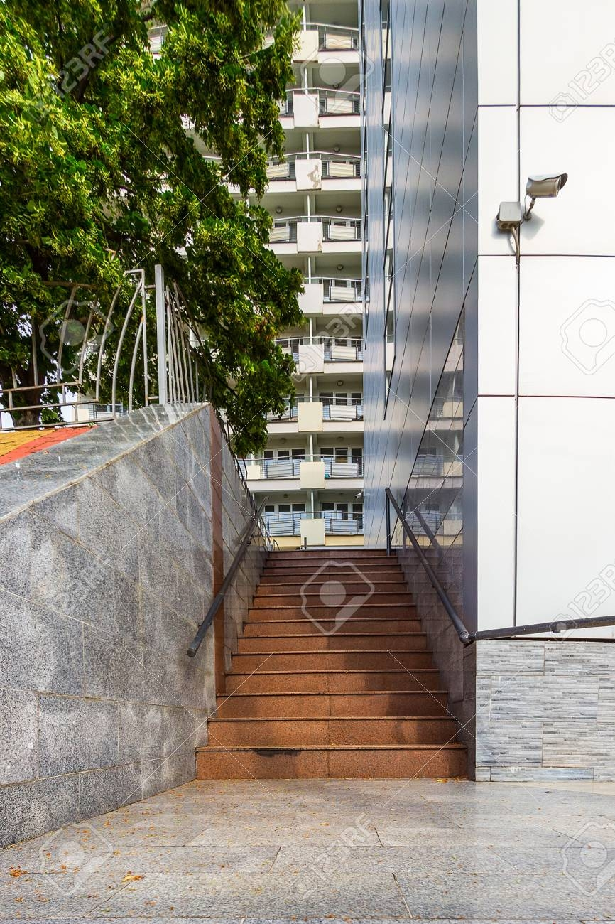 Wall Of The Modern House Near Which The Ladder Trimmed With Marble | Modern House Ladder Design | Inside Outside | Metal Balustrade | Loft | Outdoor Balcony | Beautiful