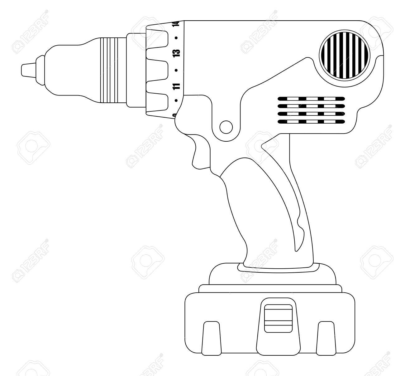 Electric cordless hand drill icon in black and yellow colors
