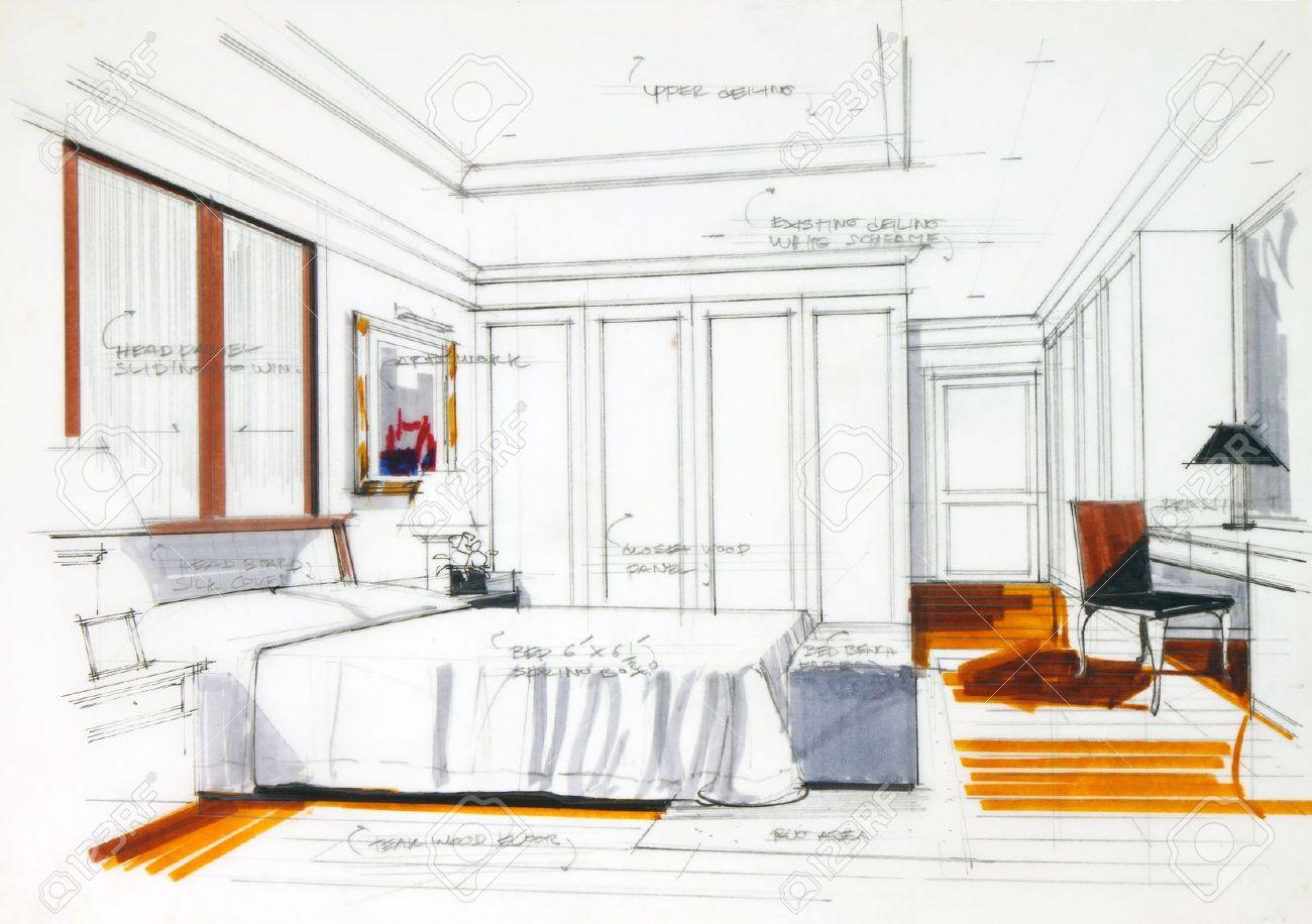 croquis interieur par un crayon et stylo de couleur main libre de dessiner une chambre de maitre