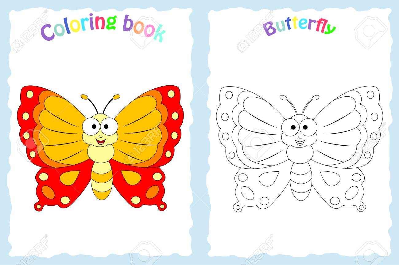 Coloring Book Page For Preschool Children With Colorful Butterfly Royalty Free Cliparts Vectors And Stock Illustration Image 98120562