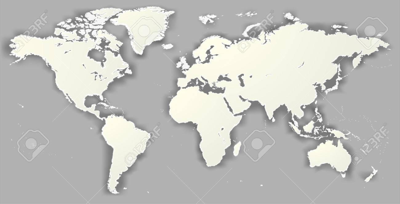 Vector Blank Torn Silhouette World Map Monochrome Worldmap Template