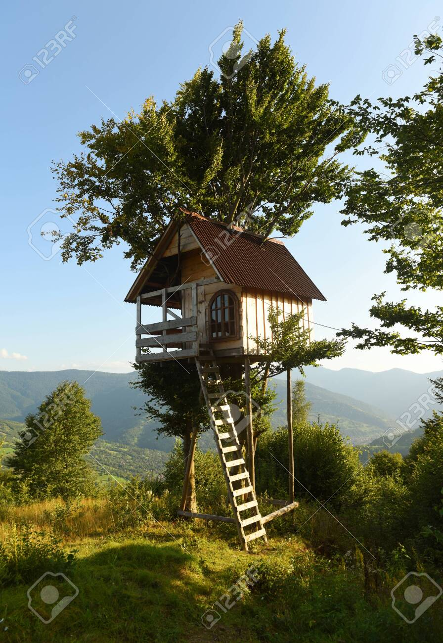 Tree House In The Mountains A Children S Treehouse Stock Photo Picture And Royalty Free Image Image 147508992