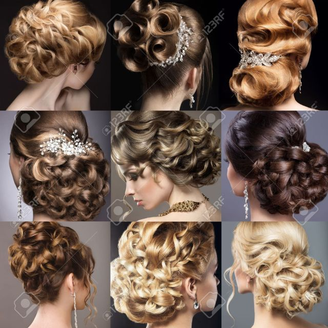 collection of wedding hairstyles. beautiful girls. beauty hair