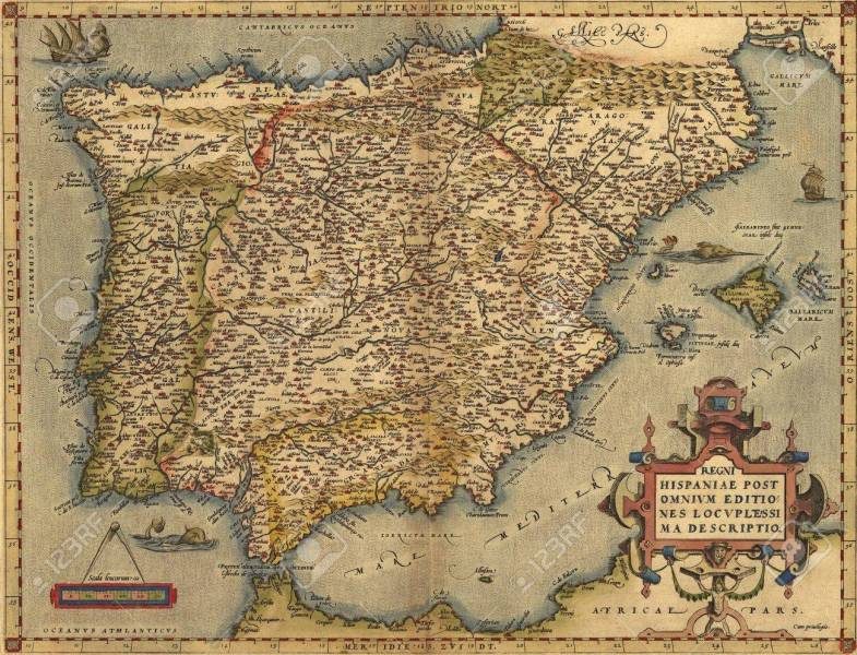 Antique Map of Spain  Antique Map of Spain  Stock Photo   10285929