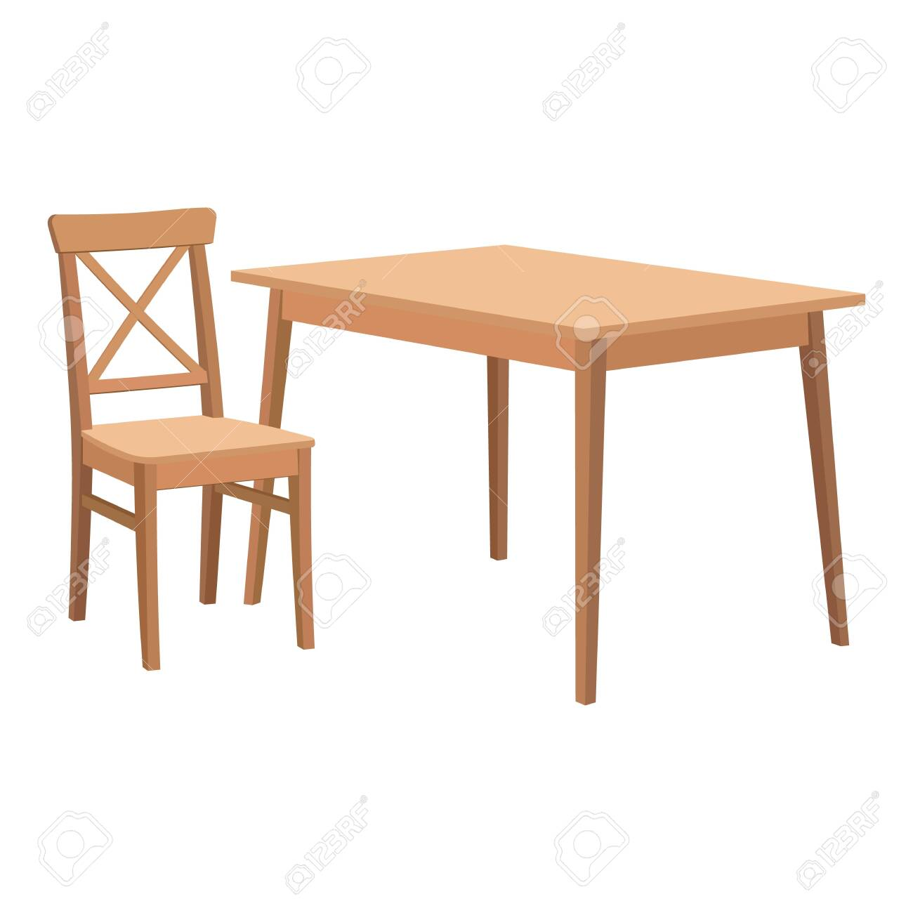 Wooden Table And Chair Royalty Free Cliparts Vectors And Stock Illustration Image 128502180