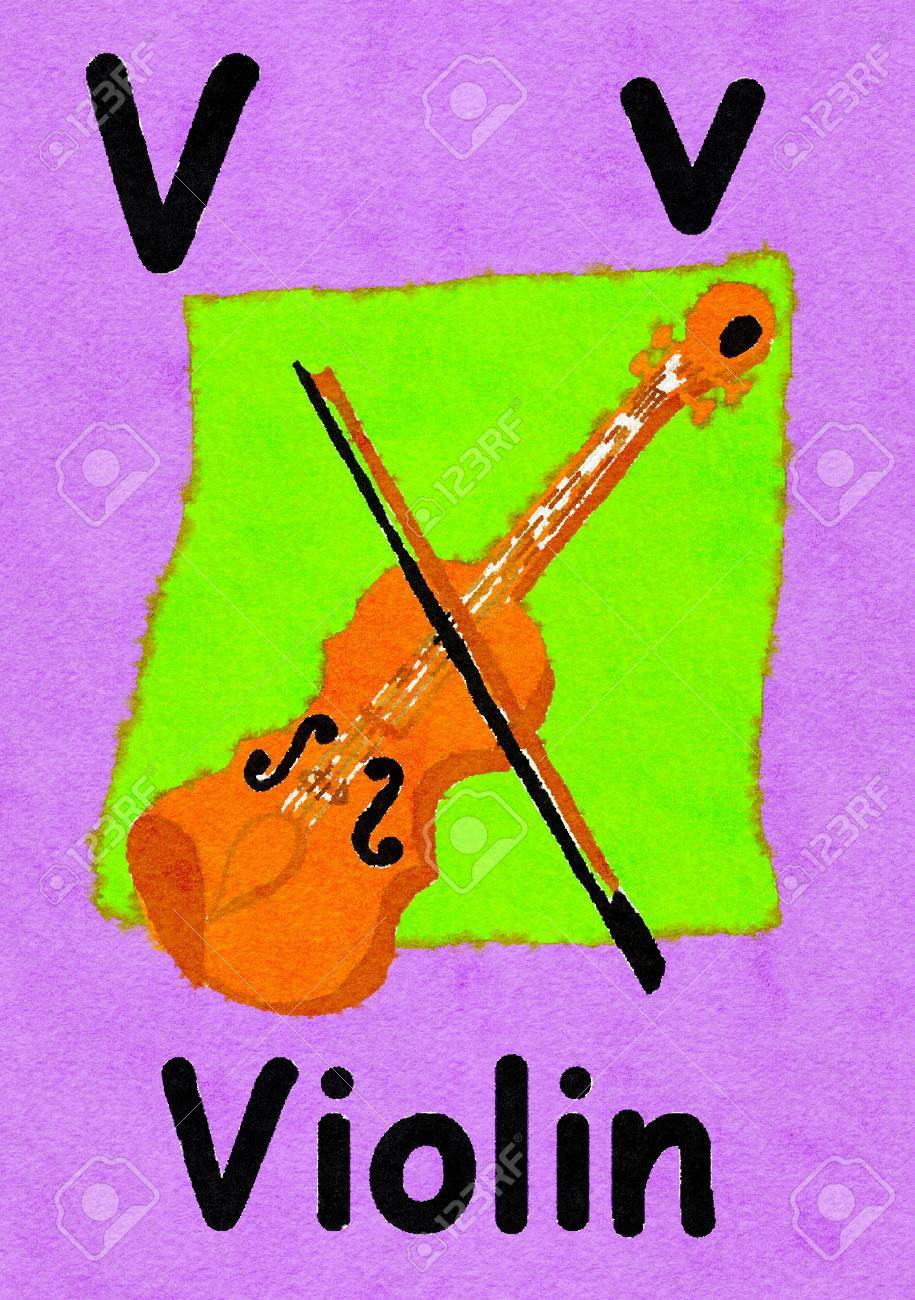V Is For Violin Watercolour Cartoon Painting Of A Violin Letter Stock Photo Picture And Royalty Free Image Image 107705979
