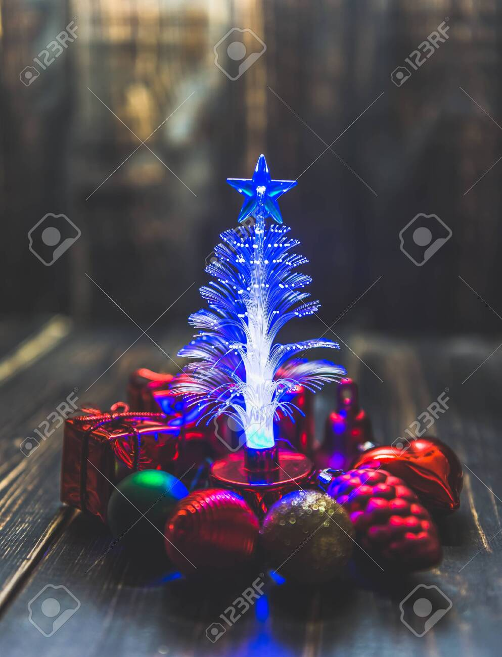 Small Christmas Tree Led Lighting Around With Small Christmas Stock Photo Picture And Royalty Free Image Image 147275545
