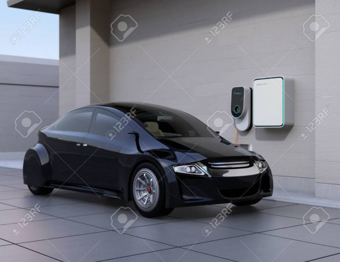 back electric car charging at home charging station. 3d rendering