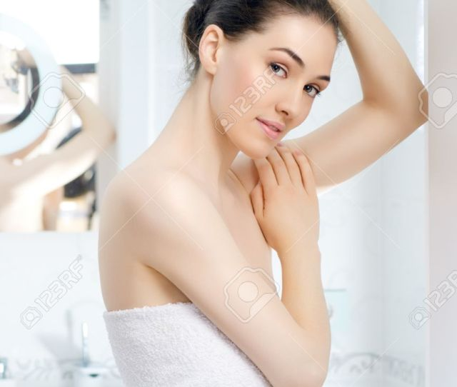 Girl Comes Out From The Bathroom Stock Photo 18878787