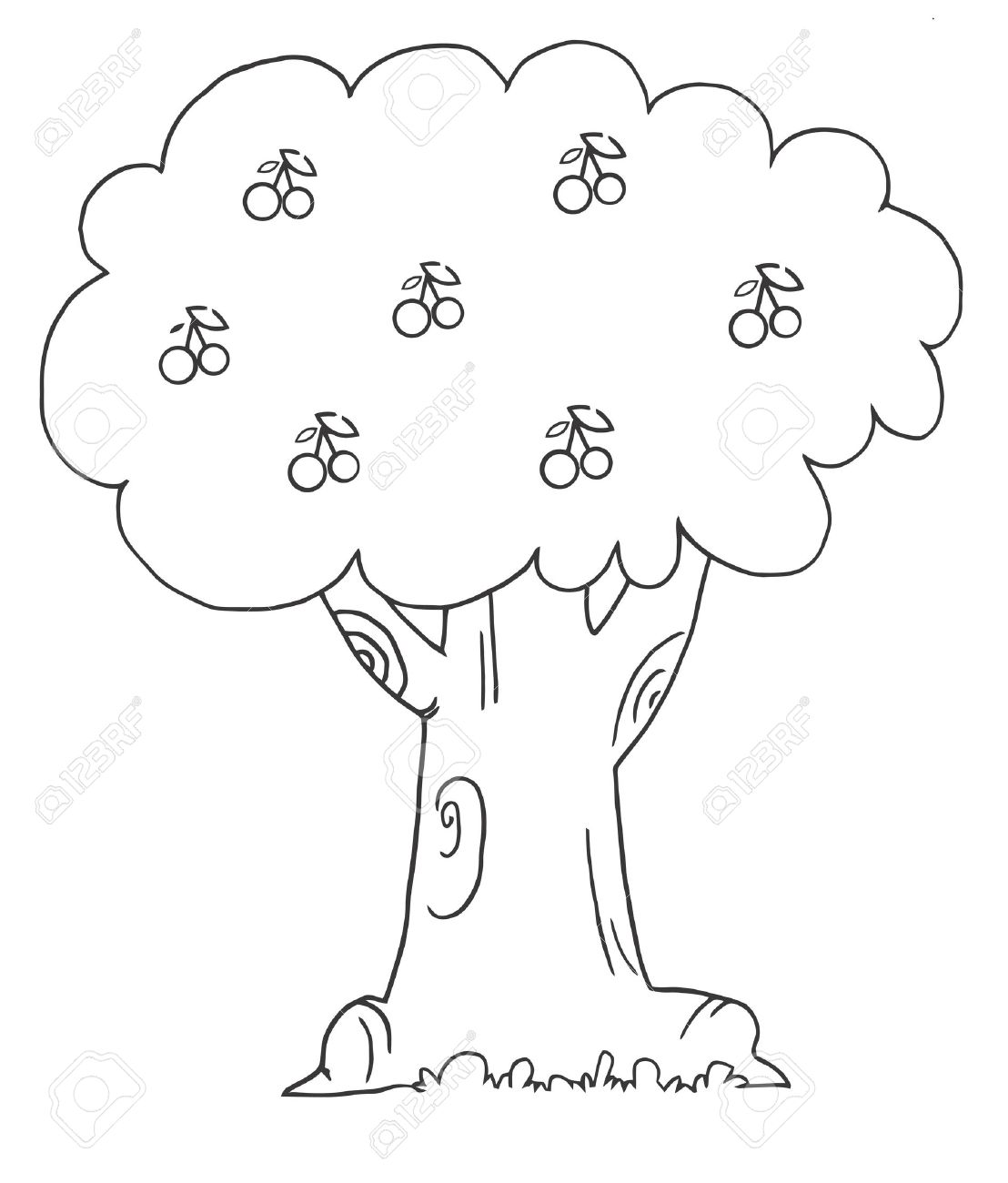 coloring page outline of a cherry tree royalty free cliparts