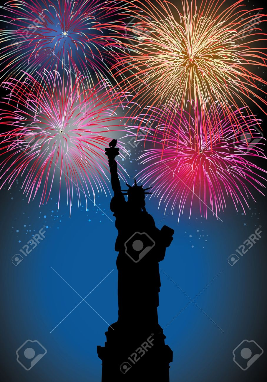 Happy New Year Fireworks New York City With Liberty Statue     Happy New Year fireworks New York city with Liberty statue silhouette night  scene with transparencies layered