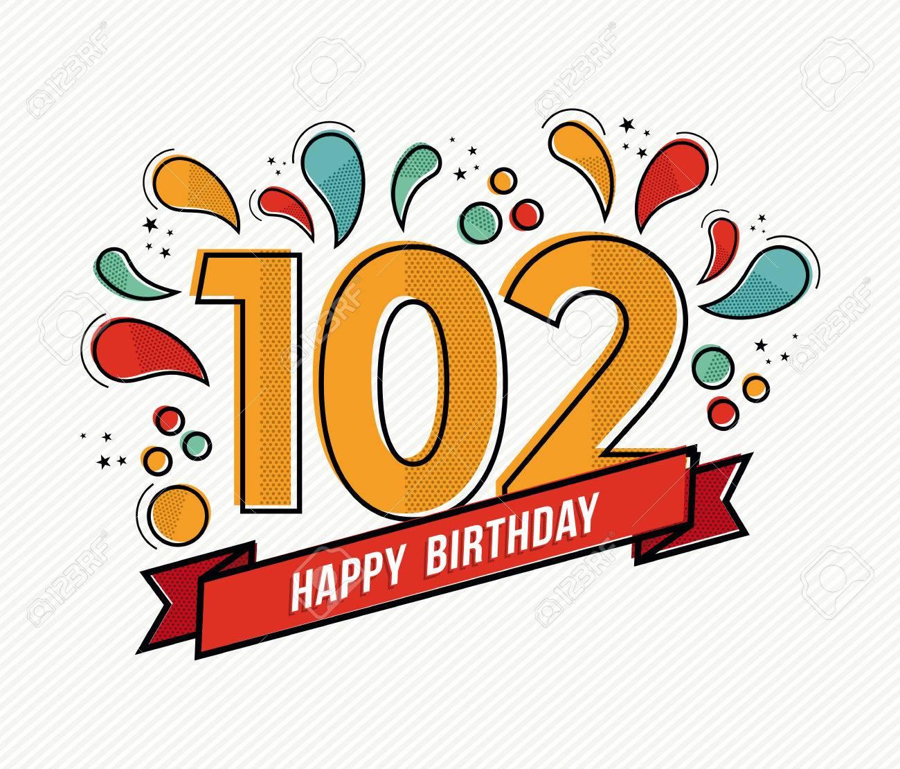 numero joyeux anniversaire 102 carte de voeux pour cent deux ans en art ligne plate moderne avec des formes geometriques colorees invitation anniversaire du parti felicitations ou de la conception de celebration