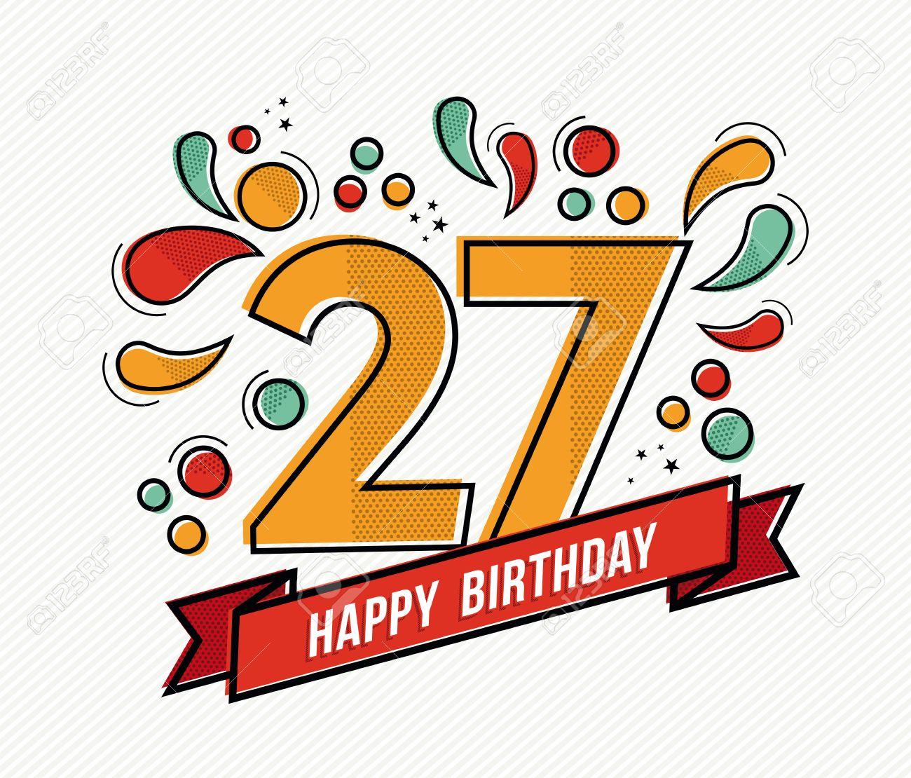 Alles Gute Zum 27 Geburtstag Vector Illustration Of Happy 27