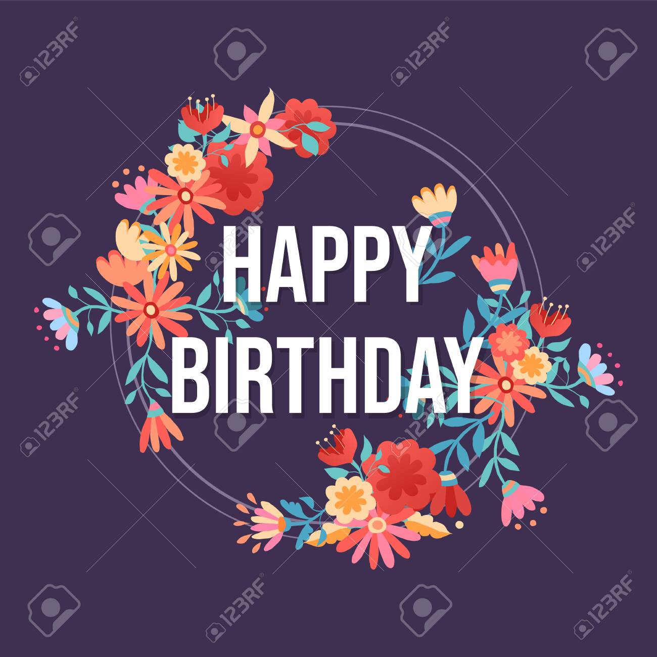 happy birthday design with pink flower wreath background ideal royalty free cliparts vectors and stock illustration image 102242171