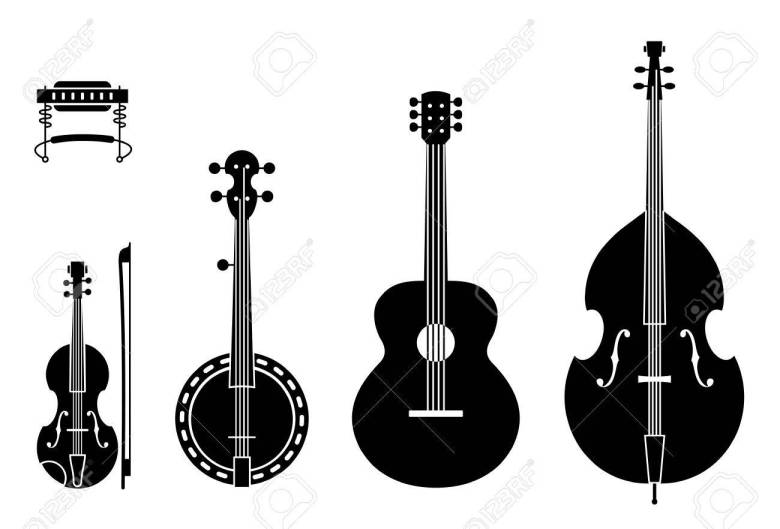 country music instruments silhouettes with strings. vector