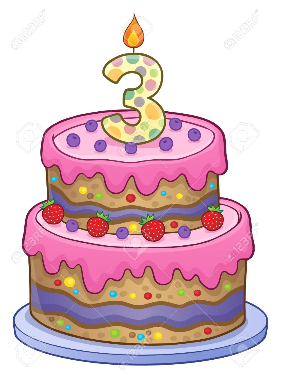 Two Layered Birthday Cake For 3 Years Old Royalty Free Cliparts Vectors And Stock Illustration Image 90461819