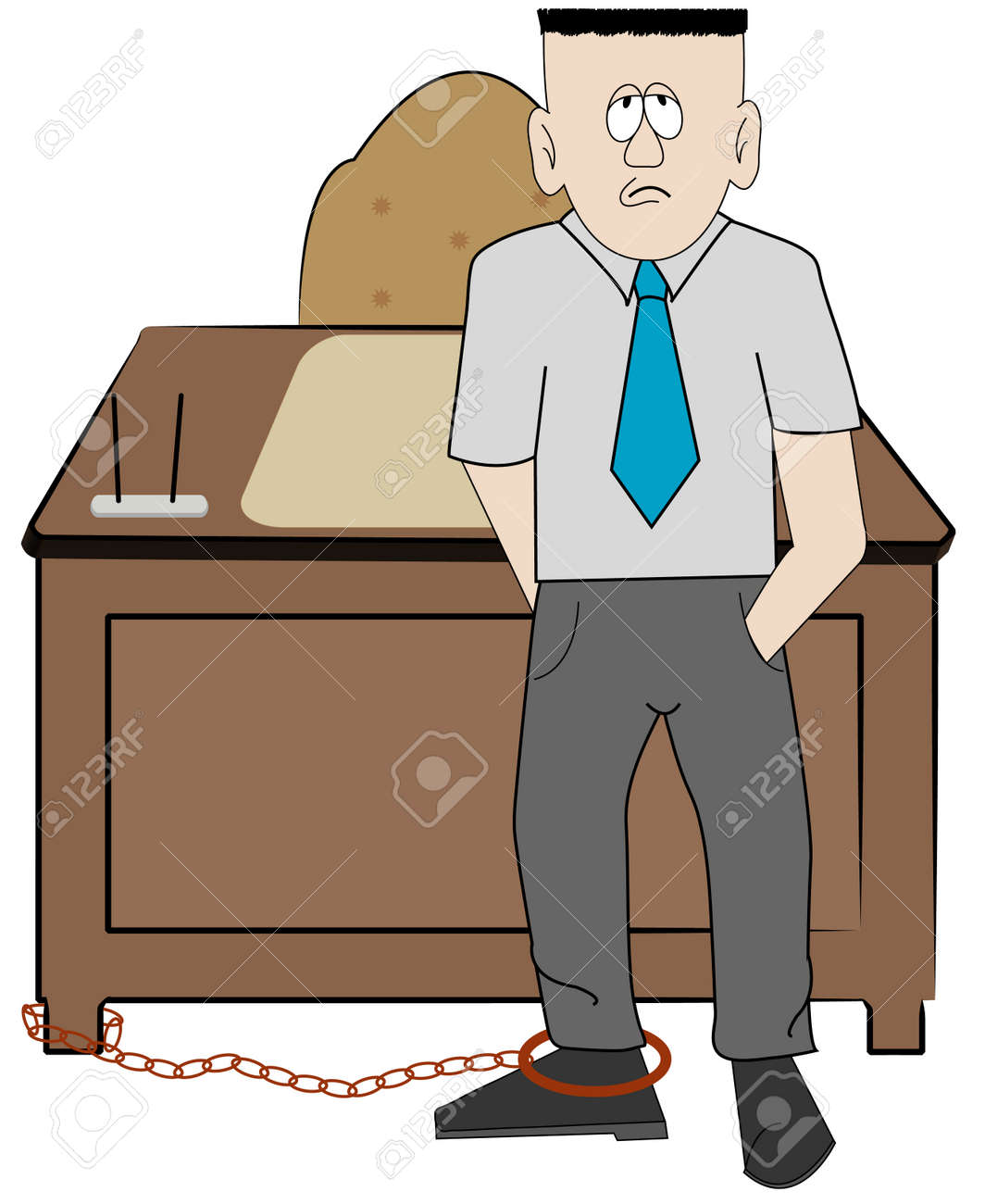 Image result for image of person chained to a desk