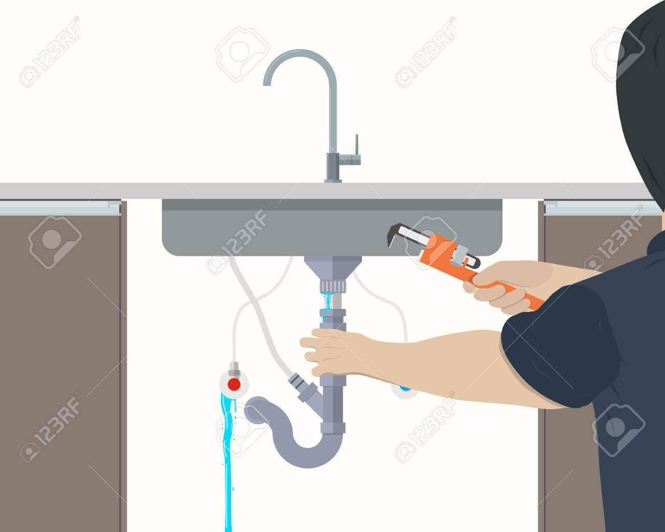 plumber repairing leaking pipe under the kitchen sink vector