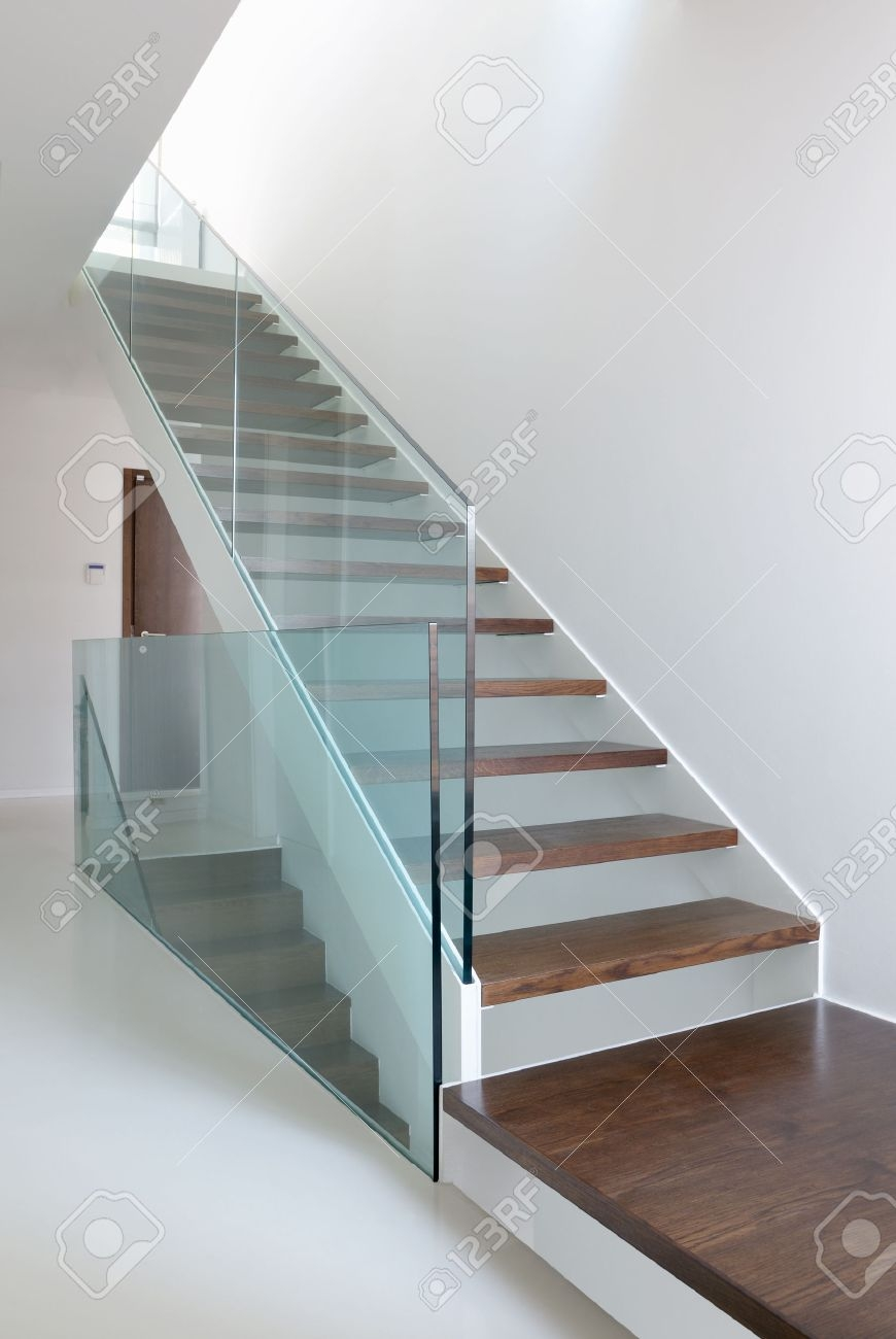 Wooden Stairs With Glass Balustrade In Modern Interior And White | White And Glass Staircase | Before And After | American White Oak | Luxurious | High End Glass | White Handrail Treads