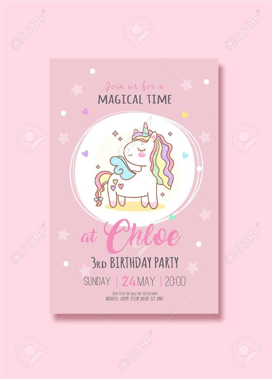 cute unicorn birthday party invitation card vector