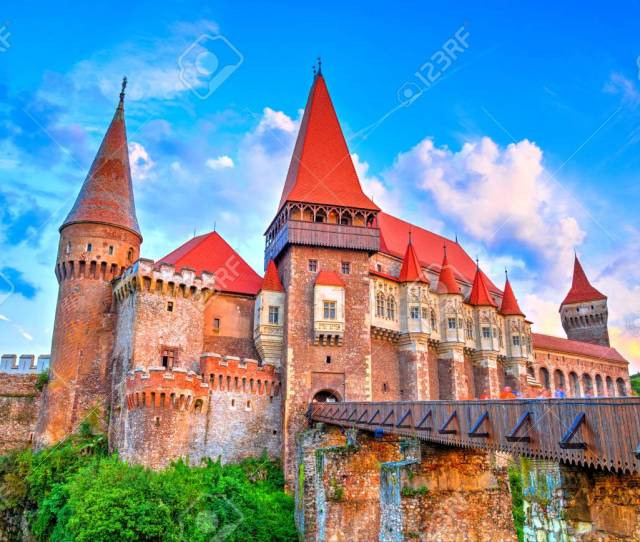 Medieval Castle In Hunedoara Famous Corvin Castle Gothic Architecture In Romania Stock Photo