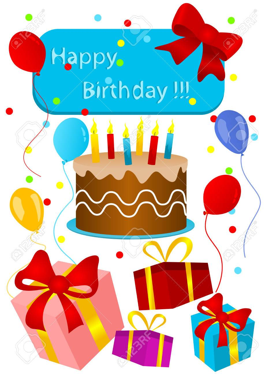 Happy Birthday Card With Birthday Cake And Presents Royalty Free Cliparts Vectors And Stock Illustration Image 5613943