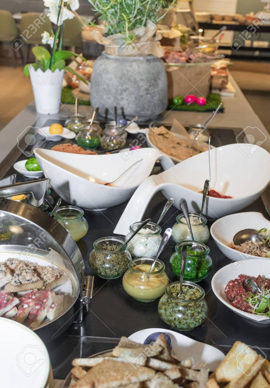 tartar raw meat and fish brunch buffet easter bar table in a stock photo picture and royalty free image image 147446863