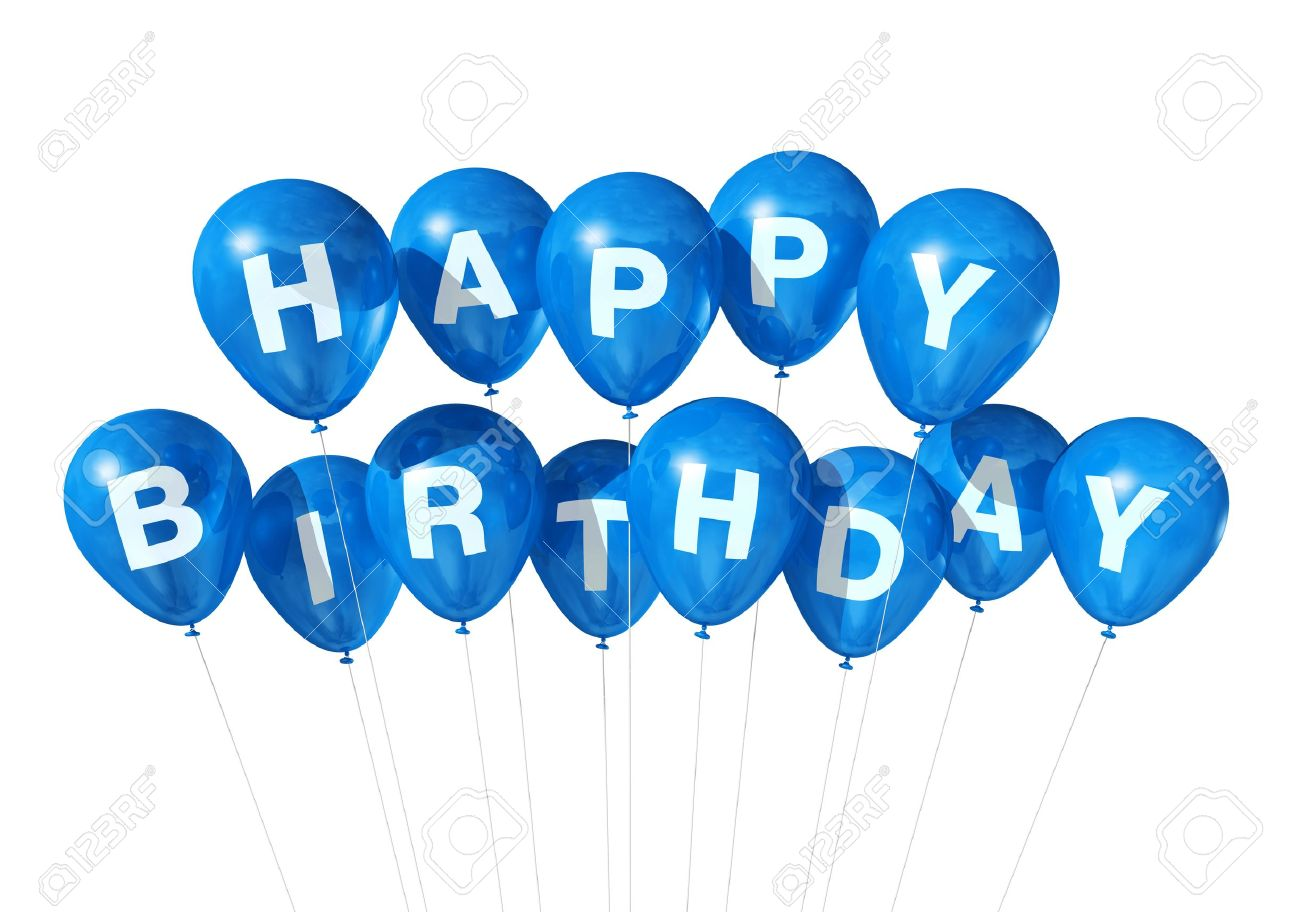 3d Blue Happy Birthday Balloons Isolated On White Background Stock Photo Picture And Royalty Free Image Image 9370823