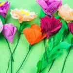 Utensils And Tools For Making Crepe Paper Flowers On Green Background Stock Photo Picture And Royalty Free Image Image 115194880
