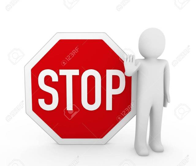 3d Human Stop Red Sign White Warning Symbol Stock Photo 8659051