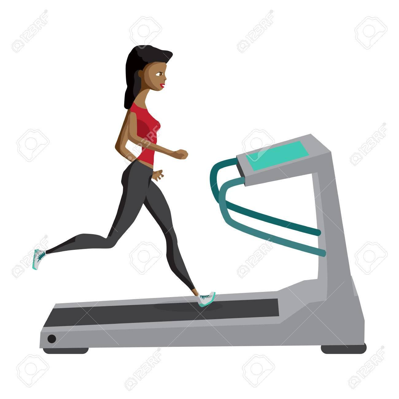femme noire courir sur tapis roulant sport fitness athletisme mode de vie sain vecteur cartoon illustration design plat