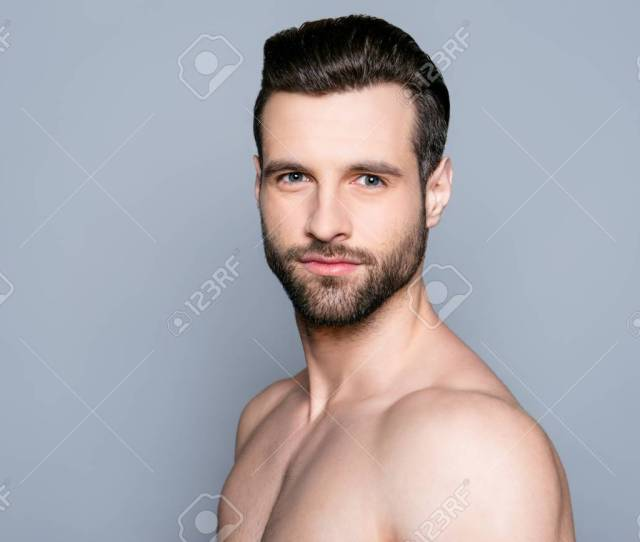 A Portrait Of A Handsome Naked Man On Gray Background Is Going To Have A Shower