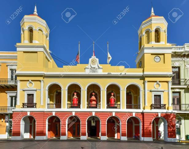 Old San Juan City Hall In The Plaza De Armas In Puerto Rico. Stock Photo,  Picture And Royalty Free Image. Image 50812821.