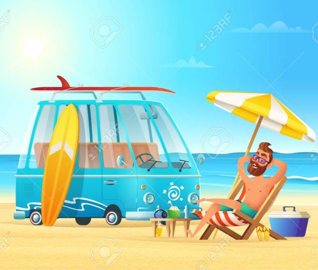 Beach Summer Vacation Car Surfing And Relaxing Man On The Beach Hot Sea View