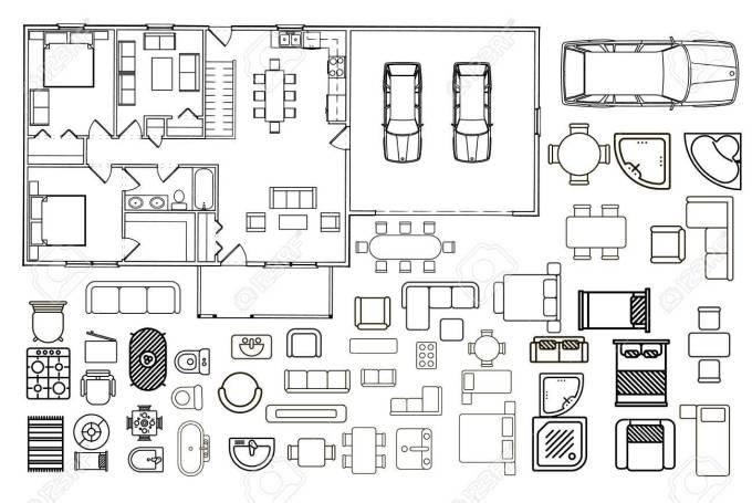 Furniture Floor Plan Vector | Wikizie.co