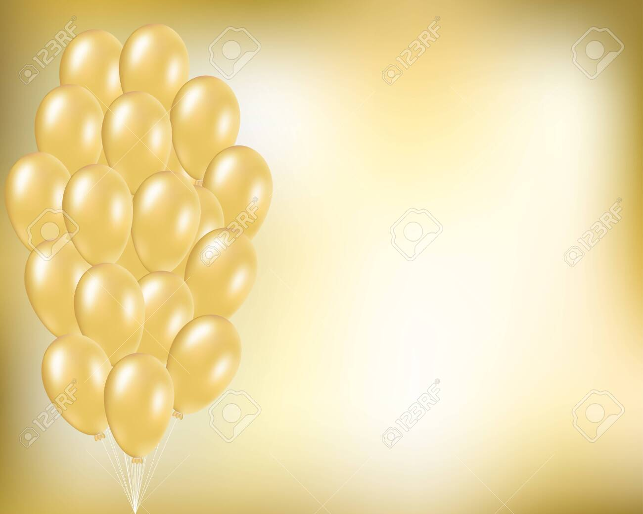 gold festive vector background with golden balloons in bunch