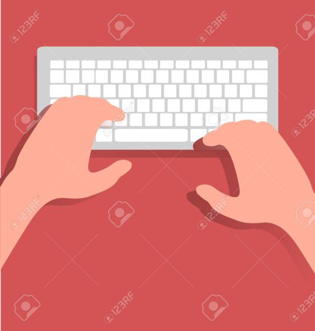 Write With Computer Keyboard Royalty Free Cliparts, Vectors, And