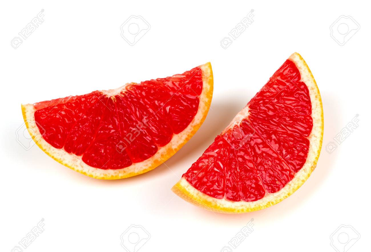 couper le pamplemousse rouge isole sur blanc banque d images et photos libres de droits image 24877355
