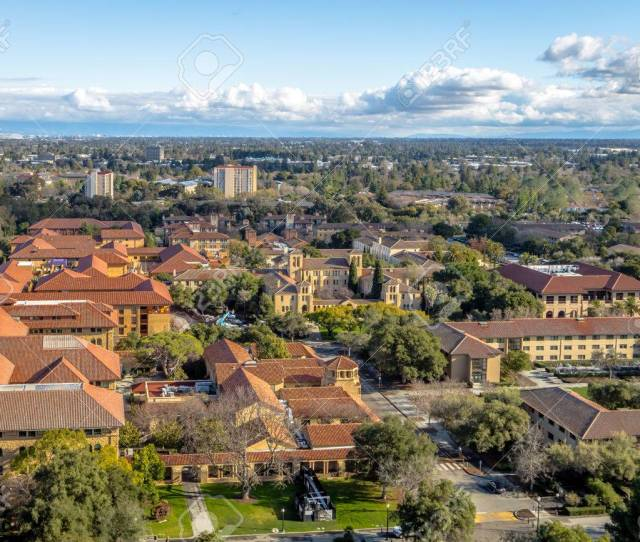Aerial View Of Stanford University Campus Palo Alto California Usa Stock Photo