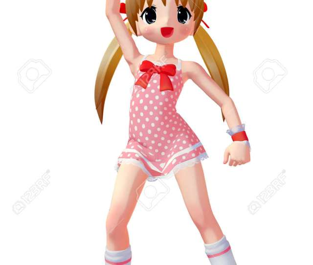 D Render Of An Anime Toon Girl Stock Photo