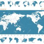 World Map Blue And Globes Asia In Center Vector Royalty Free Cliparts Vectors And Stock Illustration Image 93753206