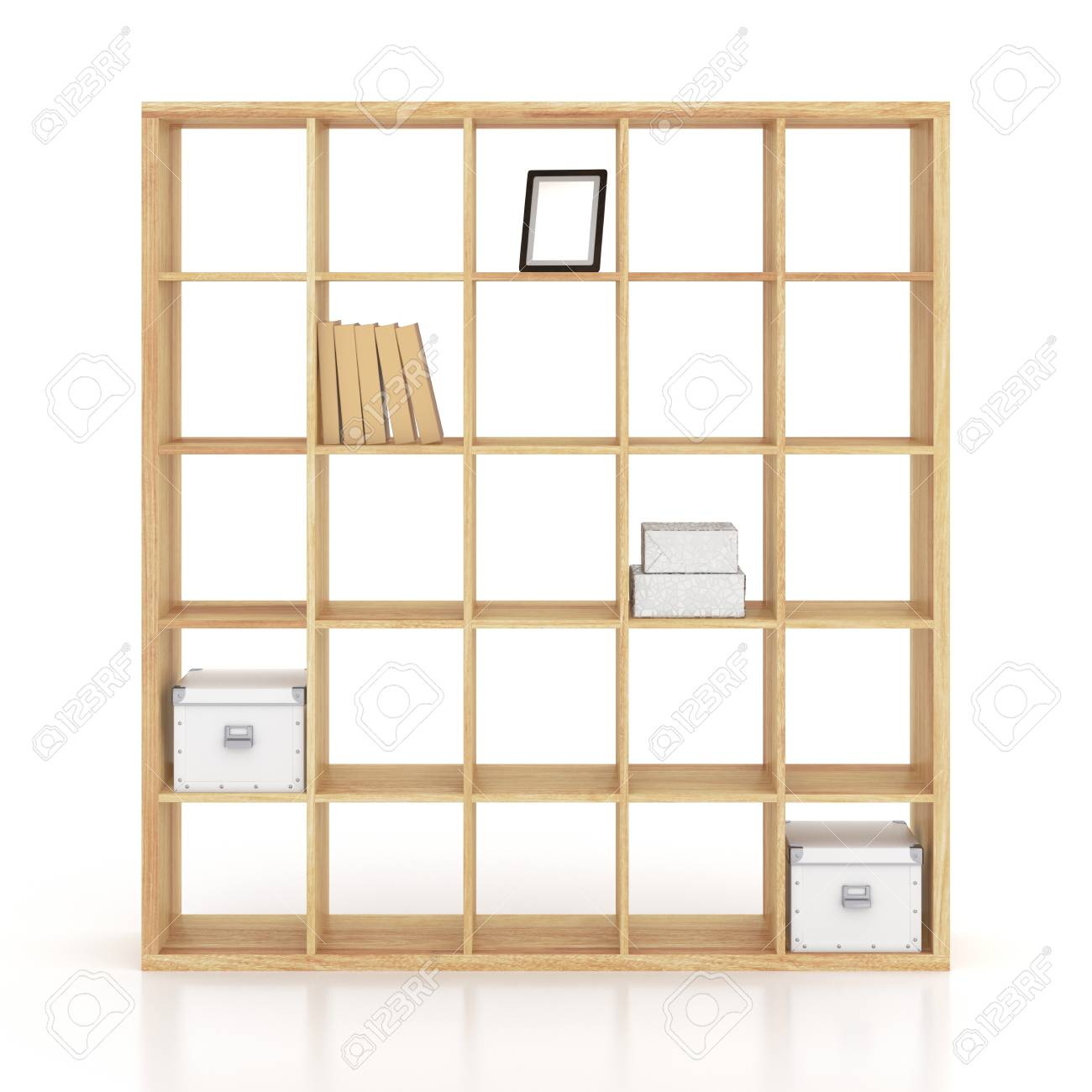 wooden book rack isolated on white background 3d render
