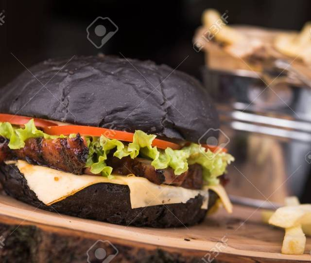Stock Photo Tasty Black Burger With French Fries Snack In The Restaurant