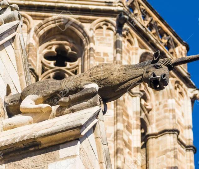 Stock Photo Unicorn Gargoyle Plaza Del Rey Gothic Quarter Barcelona Spain