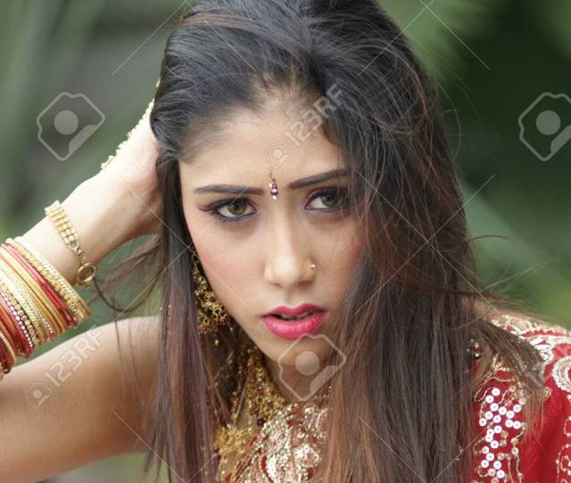 Stock Photo Young Indian Girl In Red Traditional Saree Clothing