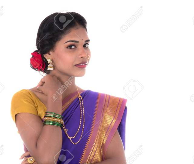 Beautiful Indian Young Girl Posing In Traditional Indian Saree On White Background Stock Photo
